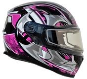 Vega Ultra 2 Snowmobile Helmet w/Heated Shield (Pink Shuriken, Large)