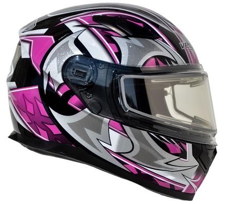 Vega Ultra 2 Snowmobile Helmet w/Heated Shield (Pink Shuriken, Large) picture