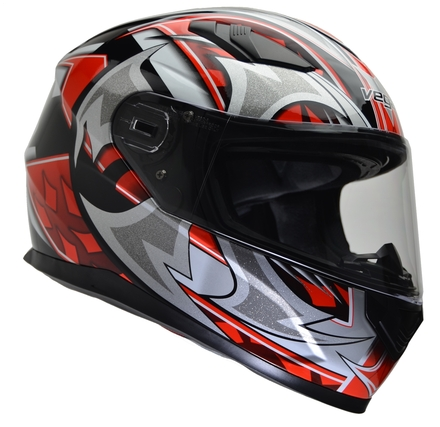 Vega Ultra II Full Face Helmet (Red Shuriken, Small) picture