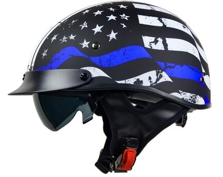 Vega Warrior Half Helmet (Back the Blue, X-Small) picture