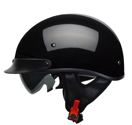 Rebel Warrior Gloss Black Half Helmet XS picture