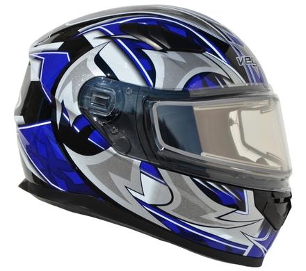 Vega Ultra 2 Snowmobile Helmet w/Heated Shield (Blue Shuriken, Large) picture