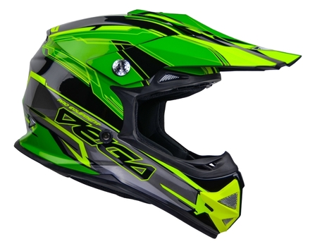 Vega Mighty X2 Youth Off-Road Helmet (Green Stinger, Large) picture