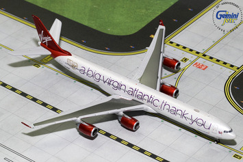 """GeminiJets 1:400 Virgin Atlantic Airbus A340-600 """"A Big Thank You"""" picture"""