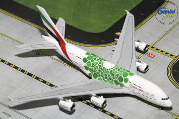 "GeminiJets 1:400 Emirates Airbus A380-800 ""Green Expo 2020"" picture"