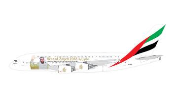 "GeminiJets 1:400 Emirates Airbus A380 ""Sheik Zayed"" picture"