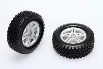 CKQ0601, Scale Tires Set w/5 spoke wheel (silver) picture