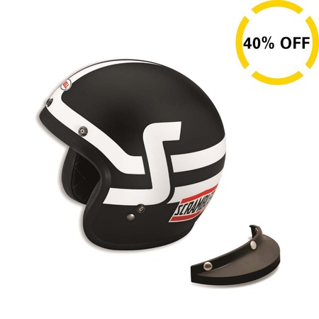 Ducati Short Track Open Face Helmet - Blk & Wht - Size Small picture