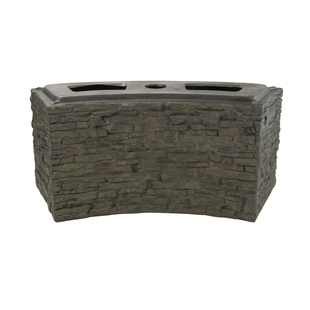 Small Curved Stacked Slate Wall Base picture
