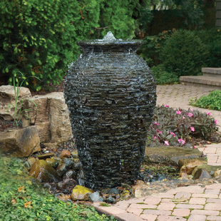 Medium Stacked Slate Urn Landscape Fountain Kit picture
