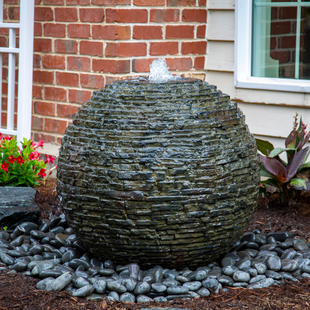 Stacked Slate Sphere Landscape Fountain Kit picture