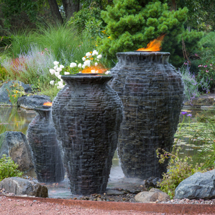 Large Stacked Slate Urn Fountain picture