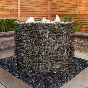 Stacked Slate Spillway Wall Landscape Fountain Kit - 32-inch picture