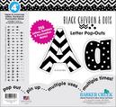 "4"" Chevron - Black Chevron & Dots Letter Pop-Outs"