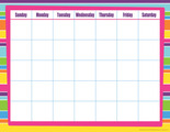 Calendar Chart - Happy Bright Stripes