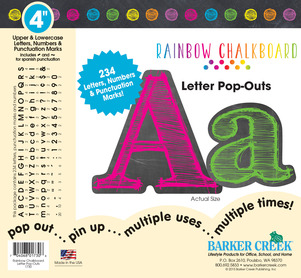 "4"" Rainbow Chalkboard Letter Pop-Outs picture"