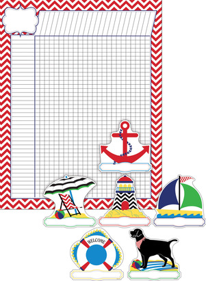 Nautical Chevron Incentive Chart and Accent Set - Set of 37 picture