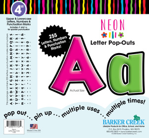 "Neon 4"" Letter Pop-Outs picture"