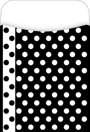 Peel & Stick! Black & White Dots Library Pockets picture