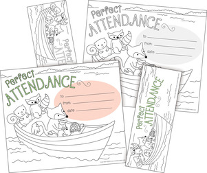 Color Me! Attendance Awards & Bookmarks Set picture