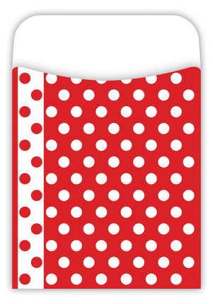 Peel & Stick! Red & White Dots Library Pockets picture