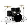 PDMA2215P8BK - PDP MAINSTAGE 5-PIECE W/HW AND PAISTE CYMBALS - BLACK METAL