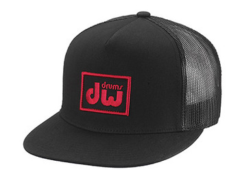 PR10HAT13 - DW LOGO TRUCKER HAT, BLACK W/ RED LOGO picture