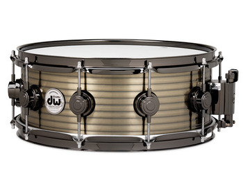 DRVR5514SBN - COLLECTOR'S SERIES 5.5X14 RIBBED VINTAGE STEEL - BRASS SNARE - BLACK NICKEL HW picture