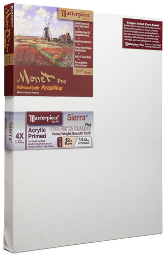 "3 Units - 48x48 Monet™ PRO 1.5"" Sierra™ 12oz Heavy Triple Primed picture"