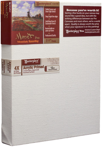"""3 Units - 5x6 Monet™ PRO 1.5"""" Vintage™ Acrylic Primed Linen picture"""
