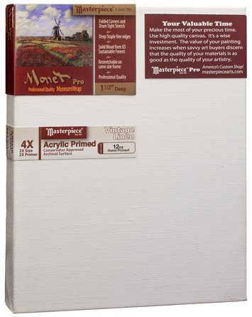 """3 Units - 4x8 Monet™ PRO 1.5"""" Vintage™ Acrylic Primed Linen picture"""