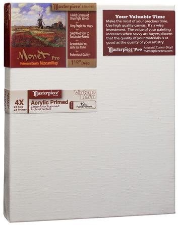 """3 Units - 8.5x11 Monet™ PRO 1.5"""" Vintage™ Acrylic Primed Linen picture"""