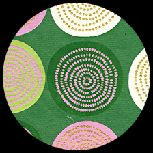 "Lolli - Pink/Lime/Cream/Gold on Grass Green, 22"" x 30"" picture"