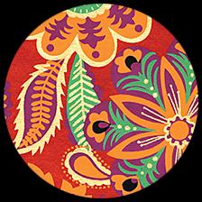 "Floral & Paisley - Multicolor on Crimson, 22"" x 30"" picture"