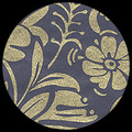 "Moonflowers-Gold/Midnight Blue 25"" x 37"""