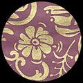 "Moonflowers-Gold/Plum 25"" x 37"""