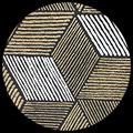 "Cubism-Gold/White on Black, 22"" x 30"""