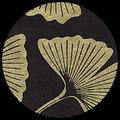"Ginkgo Leaves-Gold on Black 20"" x 30"""