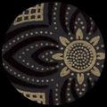 "Flocked Ashur-Black/Gold 22"" x 30"""