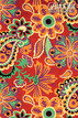 """Floral & Paisley - Multicolor on Crimson, 22"""" x 30"""" additional picture 1"""