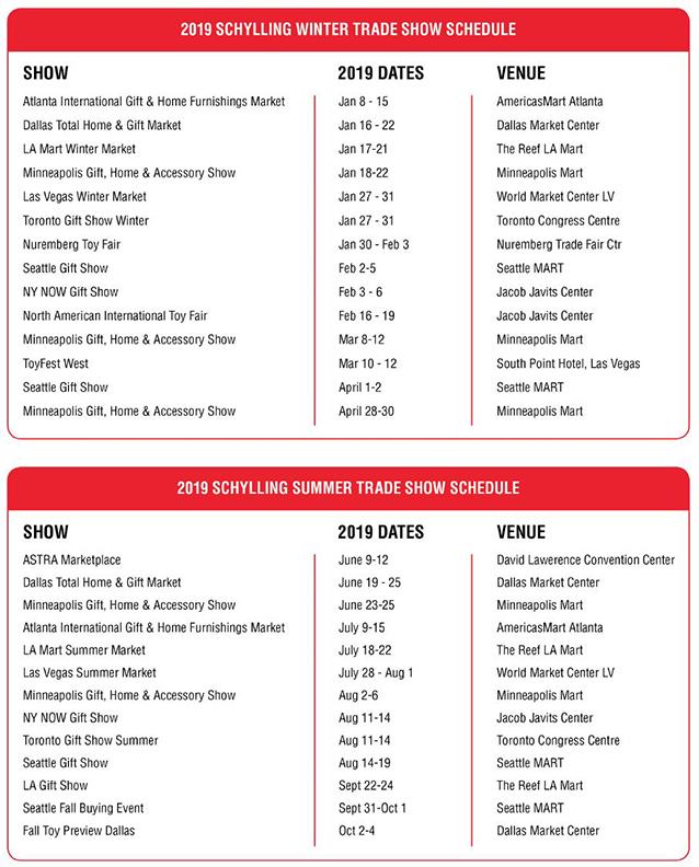 2019 Trade Show Schedule