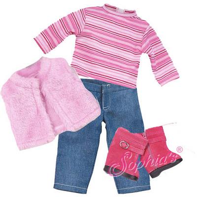 Fur Vest, Striped Top & jeans picture