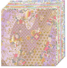 """Pastel Yuzen Origami Paper, 10 sheets/patterns 5 7/8"""" square picture"""