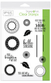 Gina K. Designs StampnFoil Stamp Set, Graphic Sunflowers