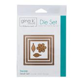 Gina K. Designs (3) Nested Square Dies • Double Stitch Design • Small Set