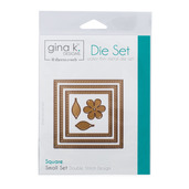 Gina K. Designs (3) Nested Square Dies • Double Stitch Design • Small Set