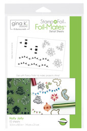 Gina K. Designs StampnFoil Foil-Mates Detail Sheet, Holly Jolly