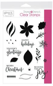 Gina K. Designs StampnStencil Stamp Set, Wishing You Joy