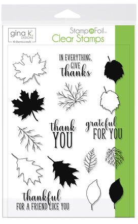 Gina K. Designs StampnFoil™ Stamp Set • Thankful Leaves picture