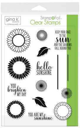 Gina K. Designs StampnFoil Stamp Set, Graphic Sunflowers picture